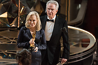 Warren Beatty and Faye Dunaway present the Oscar&reg; for best motion picture to Guillermo del Toro and J. Miles Dale for work on &quot;The Shape Of Water&quot; during the live ABC Telecast of the 90th Oscars&reg; at the Dolby&reg; Theatre in Hollywood, CA on Sunday, March 4, 2018.<br /> *Editorial Use Only*<br /> CAP/PLF/AMPAS<br /> Supplied by Capital Pictures