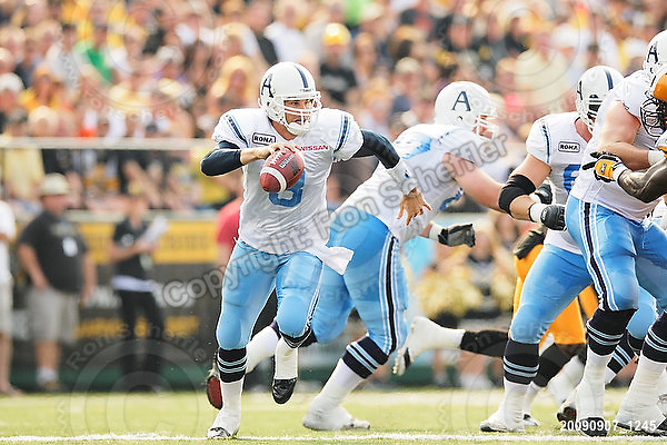 September 7, 2009; Hamilton, ON, CAN; Toronto Argonauts quarterback Cody Pickett (3). CFL football - the Labour Day Classic - Toronto Argonauts vs. Hamilton Tiger-Cats at Ivor Wynne Stadium. The Tiger-Cats defeated the Argos 34-15. Mandatory Credit: Ron Scheffler.