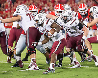 ATHENS, GEORGIA - September 19, 2015: University of Georgia Bulldogs vs. University of South Carolina Gamecocks at Sanford Stadium.  Final score, Georgia 52, South Carolina 20.