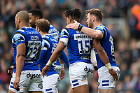 Anthony Watson of Bath Rugby celebrates his first half try with team-mates. Gallagher Premiership match, between Leicester Tigers and Bath Rugby on May 18, 2019 at Welford Road in Leicester, England. Photo by: Patrick Khachfe / Onside Images