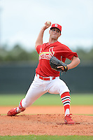 GCL Cardinals pitcher Mike Mayers (22) during the second game of a double header against the GCL Mets on July 17, 2013 at Roger Dean Complex in Jupiter, Florida.  GCL Cardinals defeated the GCL Mets 4-2.  (Mike Janes/Four Seam Images)