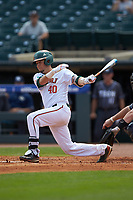 Joe Gomez (40) of the Miami Hurricanes follows through on his swing against the Georgia Tech Yellow Jackets during game one of the 2017 ACC Baseball Championship at Louisville Slugger Field on May 23, 2017 in Louisville, Kentucky. The Hurricanes walked-off the Yellow Jackets 6-5 in 13 innings. (Brian Westerholt/Four Seam Images)