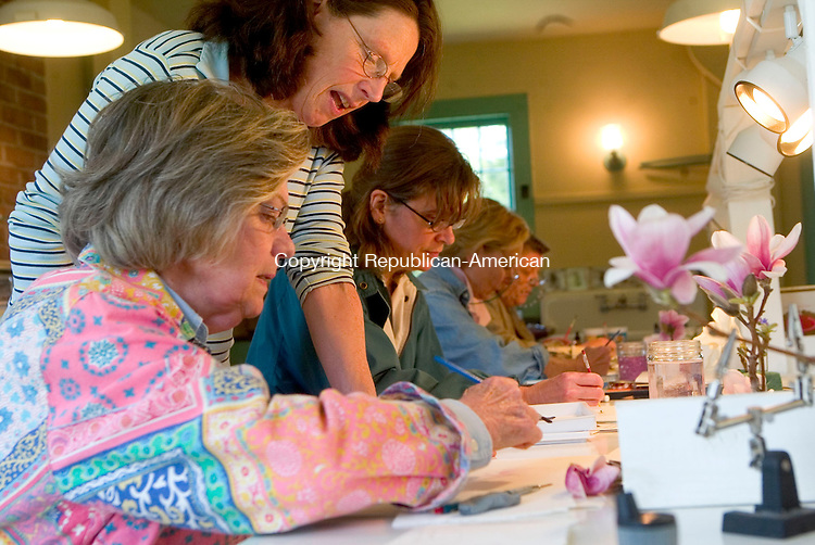 BETHLEHEM, CT- 24 APRIL 07- 042407JT15-<br /> Ann Nicoll of Southbury gets some advice from Betsy Rogers-Knox during a watercolor workshop on magnolias Rogers-Knox at the Bellamy-Ferriday House in Bethlehem on Tuesday, April 24. The artists in the backgroun, right to left, are Marcia McGowan of Watertown, Fritzie Updegraph of Washington, and Lorraine Evans of Bethlehem.<br /> Josalee Thrift Republican-American