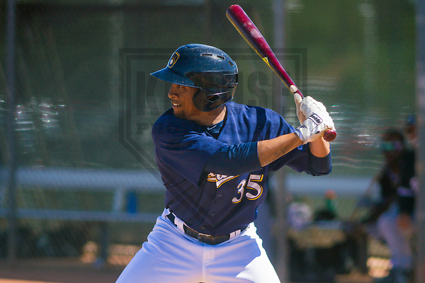 Milwaukee Brewers outfielder Johnny Davis (35) during a minor league spring training game against the Chicago White Sox on March 28th, 2017 at Maryvale Baseball Park in Maryvale, Arizona. (Brad Krause/Krause Sports Photography)