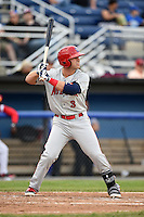 Auburn Doubledays outfielder Greg Zebrack (3) at bat during a game against the Batavia Muckdogs on June 16, 2014 at Dwyer Stadium in Batavia, New York.  Batavia defeated Auburn 4-3.  (Mike Janes/Four Seam Images)