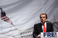 Eduardo Frei, presidential candidate of Chile ruling  coalition,speaks to a crowd at his campaign headquarters after the country's general elections , Sunday, Dec. 13, 2009. Eduardo Frei was beaten by right wing billionaire Sebastian Pinera but will have a second chance in a runof.