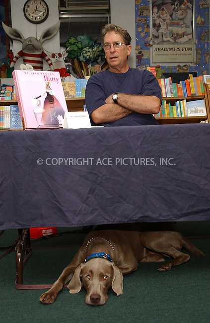 WWW.ACEPIXS.COM . . . . . ....NEW YORK, OCTOBER 16, 2004....William Wegman appears at his book signing for his new book, Dress Up Batty in NYC.....Please byline: DAISY STONE - ACE PICTURES.. . . . . . ..Ace Pictures, Inc:  ..Alecsey Boldeskul (646) 267-6913 ..Philip Vaughan (646) 769-0430..e-mail: info@acepixs.com..web: http://www.acepixs.com