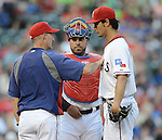 (L-R) Mike Maddux, Geovany Soto, Yu Darvish (Rangers),.APRIL 30, 2013 - MLB :.Texas Rangers pitching coach Mike Maddux talks with pitcher Yu Darvish and catcher Geovany Soto during the baseball game against the Chicago White Sox at Rangers Ballpark in Arlington in Arlington, Texas, United States. (Photo by AFLO)