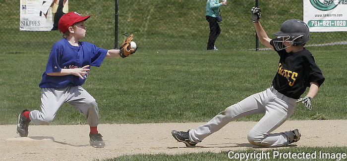 Ranger Third Basemen James O'Keefe moves to tag out an oncoming runner at the Canton Little League Opening game at the Kennedy School on Saturday April 27. 2014.<br /> (Photo by Gary Wilcox)