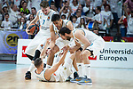 Real Madrid Jaycee Carroll, Luka Doncic, Gustavo Ayon and Sergio Llull during Turkish Airlines Euroleague Quarter Finals 3rd match between Real Madrid and Panathinaikos at Wizink Center in Madrid, Spain. April 25, 2018. (ALTERPHOTOS/Borja B.Hojas)
