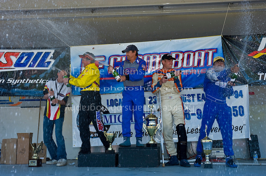8-10 August 2008  Algonac, MI USA.F1 Podium (L to R): Terry Rinker (2nd), Tim Seebold (1st) and Chris Fairchild (3rd) and Khunjeng Nithas spray the champange..©F.Peirce Williams 2008