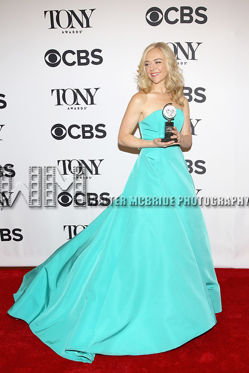 NEW YORK, NY - JUNE 11:  Rachel Bay Jones poses with an award at the 71st Annual Tony Awards, in the press room at Radio City Music Hall on June 11, 2017 in New York City.  (Photo by Walter McBride/WireImage)