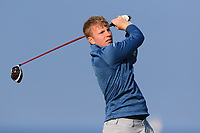 Alan Fahy on the 1st tee during Round 4 of The West of Ireland Open Championship in Co. Sligo Golf Club, Rosses Point, Sligo on Sunday 7th April 2019.<br /> Picture:  Thos Caffrey / www.golffile.ie