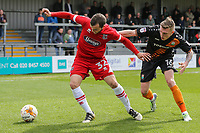 Jamey Osborne of Grimsby Town holds off Harry Taylor of Barnet during the Sky Bet League 2 match between Barnet and Grimsby Town at The Hive, London, England on 29 April 2017. Photo by David Horn.