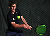Matthew Cashin of Cold Spring Harbor retruns a volley from Patrick Maloney of Oyster Bay (not in picture) during the Nassau County varsity boys tennis individual final at Eisenhower Park in East Meadow on Monday, May 21, 2018. Cashin finished as runner-up to Maloney in the county tournament and qualified for states.