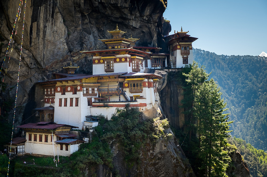 PARO, BHUTAN - CIRCA OCTOBER 2014: View of Tiger's Nest Monastery in Paro, Bhutan