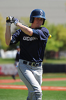 University of Connecticut Huskies outfielder Jack Sundberg (4) during game against the Rutgers University Scarlet Knights at Bainton Field on May 3, 2013 in Piscataway, New Jersey. Connecticut defeated Rutgers 3-1.      . (Tomasso DeRosa/ Four Seam Images)