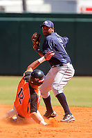 Tampa Bay Rays Omar Luna #10 attempts to turn a double play as Gyenuar Lopez #12 slides in during a spring training exhibition game against the Netherlands National Team at the Al Lang Field on March 18, 2012 in St. Petersburg, Florida.  Tampa Bay defeated the Netherlands 4-3.  (Mike Janes/Four Seam Images)