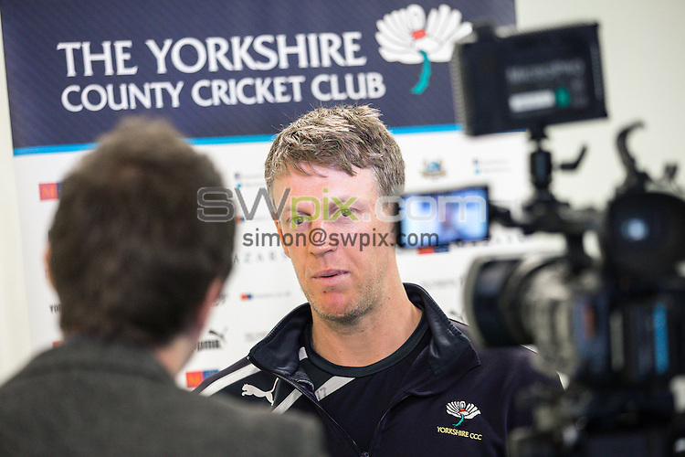 Picture by Alex Whitehead/SWpix.com - 09/03/2015 - Cricket - Yorkshire CCC Pre UAE Tour Media Day - Headingley Stadium, Leeds, England - Yorkshire's Steven Patterson.