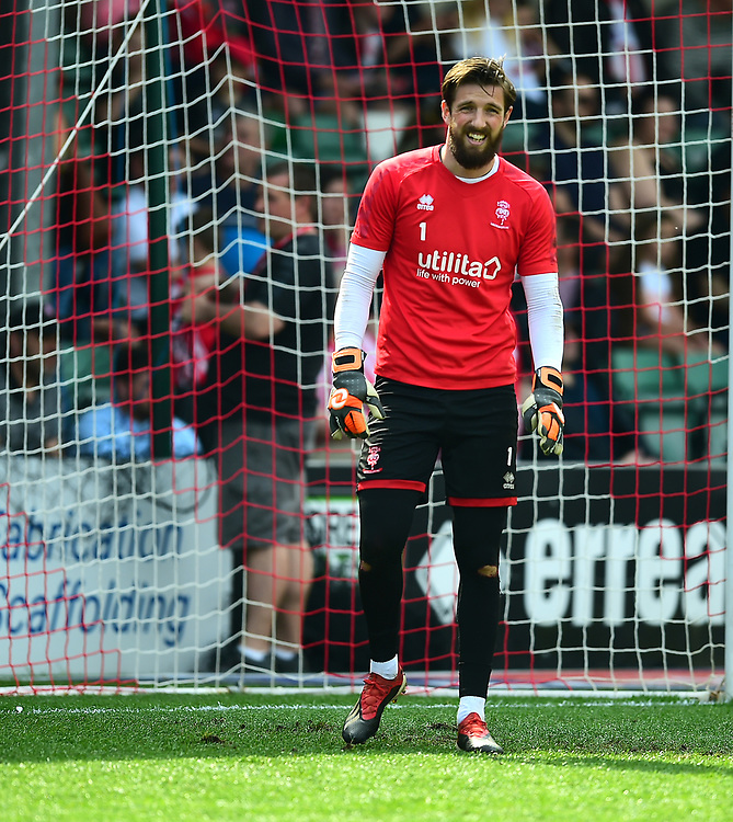 Lincoln City's Josh Vickers during the pre-match warm-up<br /> <br /> Photographer Andrew Vaughan/CameraSport<br /> <br /> The EFL Sky Bet League Two - Lincoln City v Tranmere Rovers - Monday 22nd April 2019 - Sincil Bank - Lincoln<br /> <br /> World Copyright © 2019 CameraSport. All rights reserved. 43 Linden Ave. Countesthorpe. Leicester. England. LE8 5PG - Tel: +44 (0) 116 277 4147 - admin@camerasport.com - www.camerasport.com