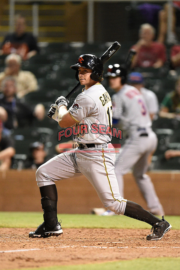 Scottsdale Scorpions infielder Dan Gamache (13) during an Arizona Fall League game against the Salt River Rafters on October 7, 2014 at Salt River Fields at Talking Stick in Scottsdale, Arizona.  Scottsdale defeated Salt River 7-4.  (Mike Janes/Four Seam Images)