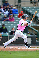 Rochester Red Wings catcher Chris Herrmann #18 during a game against the Columbus Clippers on May 12, 2013 at Frontier Field in Rochester, New York.  Rochester defeated Columbus 5-4 wearing special pink jerseys for Mother's Day.  (Mike Janes/Four Seam Images)