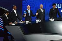 23.02.2013. Nice, France. UEFA Drawing fo the 2016 UEFA EURO Championships. Ruud Gullit, Bixente Lizarazu, Gianni Infantino, Vitor Baia ,