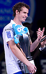 SHANGHAI, CHINA - OCTOBER 17:  Andy Murray of Great Britain smiles on the trophy ceremony after his victory over to Roger Federer of Switzerland on the singles final match during day seven of the 2010 Shanghai Rolex Masters at the Shanghai Qi Zhong Tennis Center on October 17, 2010 in Shanghai, China.  (Photo by Victor Fraile/The Power of Sport Images) *** Local Caption *** Andy Murray