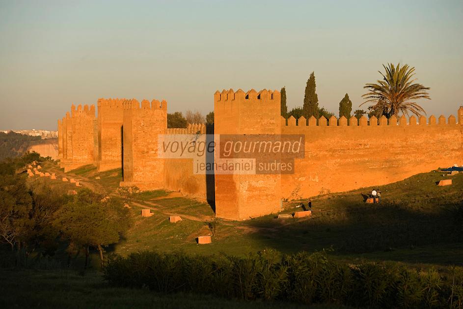 Afrique/Afrique du Nord/Maroc/Rabat: Chellah les murailles dans la lumière du soir