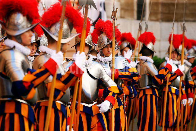 The new recruits stand in the courtyard of the Swiss Guard barracks before the ceremony on May 6, 2014 at Vatican