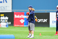 June 7, 2017: New England Patriots assistant coach Steve Belichick runs a drill at the New England Patriots mini camp held on the practice field at Gillette Stadium, in Foxborough, Massachusetts. Eric Canha/CSM