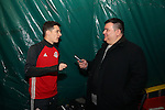 08 December 2016: Toronto's Will Johnson (left) is interviewed by Ives Galarcep (right). Toronto FC held a training session at the Kia Training Ground in Toronto, Ontario in Canada two days before playing in MLS Cup 2016.