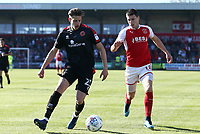Fleetwood Town&rsquo;s Bobby Grant and Walsall's Jack Fitzwater <br /> <br /> Photographer Leila Coker/CameraSport<br /> <br /> The EFL Sky Bet League One - Fleetwood Town v Walsall - Saturday 5th May 2018 - Highbury Stadium - Fleetwood<br /> <br /> World Copyright &copy; 2018 CameraSport. All rights reserved. 43 Linden Ave. Countesthorpe. Leicester. England. LE8 5PG - Tel: +44 (0) 116 277 4147 - admin@camerasport.com - www.camerasport.com