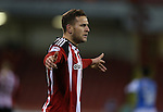 Billy Sharp of Sheffield Utd asks for a reason after his goal is disallowed during the English League One match at Bramall Lane Stadium, Sheffield. Picture date: November 29th, 2016. Pic Simon Bellis/Sportimage