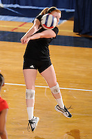 20 November 2008:  Arkansas State libero Erin Neeley (1) returns the ball during the Middle Tennessee 3-0 victory over Arkansas State in the first round of the Sun Belt Conference Championship tournament at FIU Stadium in Miami, Florida.