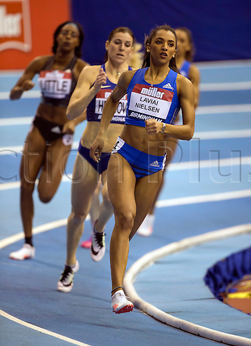 February 18th 2017,  Birmingham, Midlands, England; IAAF The Müller Indoor Grand Prix Athletics meeting; Laviai Nielsen (GBR) competing in the final of the Women's 400 Metres