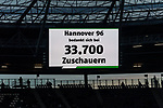 09.02.2019, HDI Arena, Hannover, GER, 1.FBL, Hannover 96 vs 1. FC Nuernberg<br /> <br /> DFL REGULATIONS PROHIBIT ANY USE OF PHOTOGRAPHS AS IMAGE SEQUENCES AND/OR QUASI-VIDEO.<br /> <br /> im Bild / picture shows<br /> Anzeigetafel, Zuschauerzahl, Gro&szlig;e L&uuml;cken / Leere R&auml;nge beim Kellerduell, lt. offizieller Meldung kamen 33.700 Zuschauer / Fans ins Hannover 96 Stadion, <br /> <br /> Foto &copy; nordphoto / Ewert