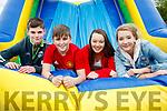 Luke O'Ceallacháin, Eddie Ó Sé, Zoe Ní Riordáin and Kayleigh Ní Mhuircheartaigh, enjoying Gaelcholáiste Chiarraí Sports Day in aid of Jigsaw Kerry, held at Na Gael Clubhouse, Tralee on Friday morning last.