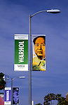 Banners promoting art exhibition of Andy Warhol at the MOCA museum in Los Angeles circa 1990s