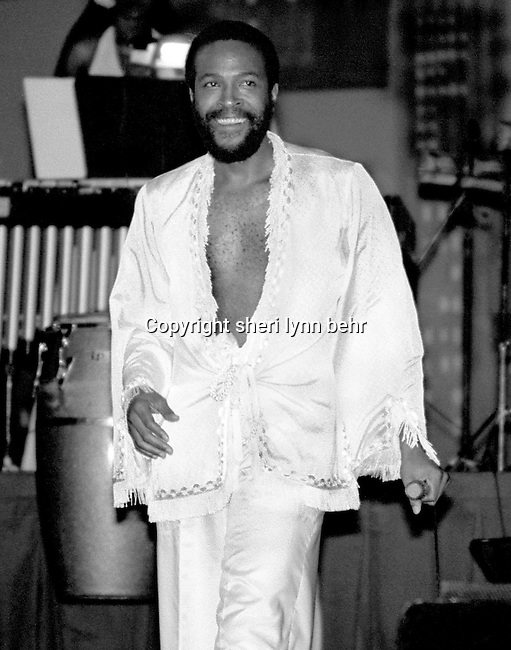 Marvin Gaye is onstage at the Radio City Music Hall in September 1977.