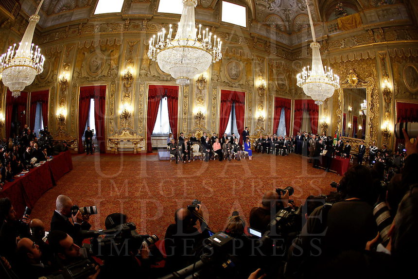 Una veduta della cerimonia del giuramento del nuovo governo al Quirinale, Roma, 22 febbraio 2014.<br /> A view of the swearing in ceremony of the new government at the Quirinale presidential palace, Rome, 22 February 2014.<br /> UPDATE IMAGES PRESS/Riccardo De Luca