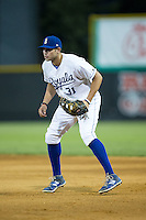 Burlington Royals first baseman Brandon Dulin (31) on defense against the Johnson City Cardinals at Burlington Athletic Park on August 22, 2015 in Burlington, North Carolina.  The Cardinals defeated the Royals 9-3. (Brian Westerholt/Four Seam Images)