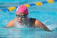 5 November 2011:  FIU's Johanna Gustafsdottir competes in the 200 yard individual medley as the FIU Golden Panthers won the meet with the Florida Atlantic University Owls and Florida Southern Moccasins at the Biscayne Bay Campus Aquatics Center in Miami, Florida.
