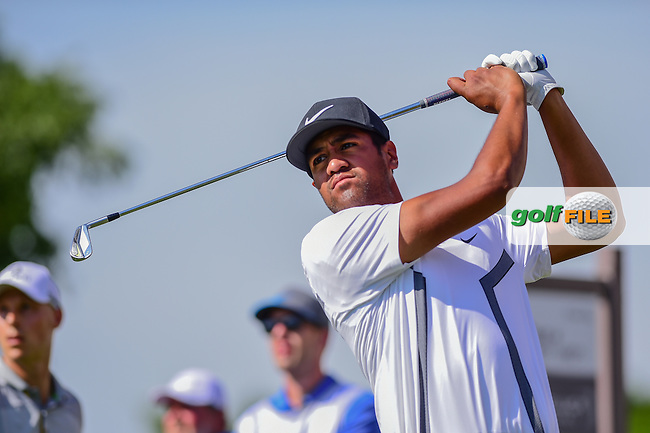 Tony Finau (USA) watches his tee shot on 17 during the round 2 of the Dean &amp; Deluca Invitational,  Colonial Country Club, Ft. Worth, Texas, USA. 5/27/2016.<br /> Picture: Golffile   Ken Murray<br /> <br /> <br /> All photo usage must carry mandatory copyright credit (&copy; Golffile   Ken Murray)
