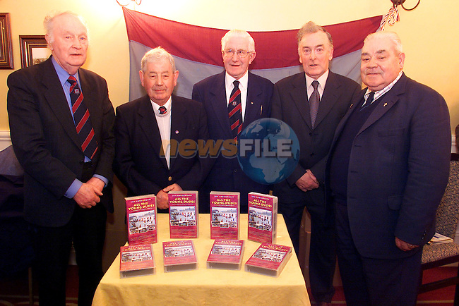 "Tom Munster, vice-president, Charlie Devitt, vice-president, Charkie Hurley, joint-president, Vincent Hoey, joint presidents and Jim Farrell, vice-presidents pictured at the launch of Drogheda United's ""All The Young Dudes"" video in the Westcourt Hotel..Picture: Arthur Carron/Newsfile"