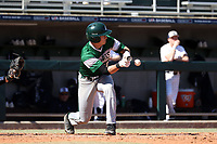 CARY, NC - FEBRUARY 23: AJ Medrano #12 of Wagner College bunts the ball during a game between Wagner and Penn State at Coleman Field at USA Baseball National Training Complex on February 23, 2020 in Cary, North Carolina.