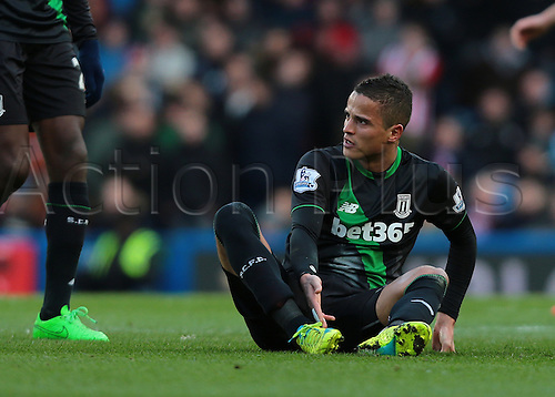 05.03.2016. Stamford Bridge, London, England. Barclays Premier League. Chelsea versus Stoke City. Stoke City Midfielder Ibrahim Afellay reacts after being brought down by Chelsea Midfielder Mikel John Obi