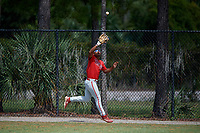 Philadelphia Phillies right fielder Marcus Lee Sang (9) catches a fly ball during an Instructional League game against the Detroit Tigers on September 19, 2019 at Tigertown in Lakeland, Florida.  (Mike Janes/Four Seam Images)