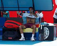 28th January 2020; Melbourne Park, Melbourne, Victoria, Australia; Australian Open Tennis, Day 9; Roger Federer of Switzerland during a break in his match against Tennys Sandgren of USA