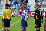 Courage captain Tiffany Roberts, with assistant referree Karalee Sutton and goalkeeper Meghann Burke at SAS Stadium in Cary, North Carolina on 4/5/03 during a game between the Carolina Courage and Washington Freedom. The Washington Freedom won the game 2-1.